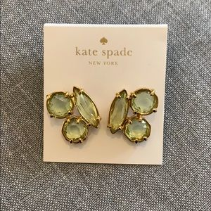 Kate Spade Cluster Earrings Green Stone